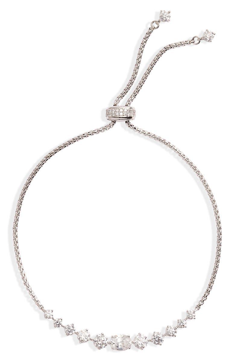 NADRI Mia Cubic Zirconia Graduated Bolo Bracelet, Main, color, 040