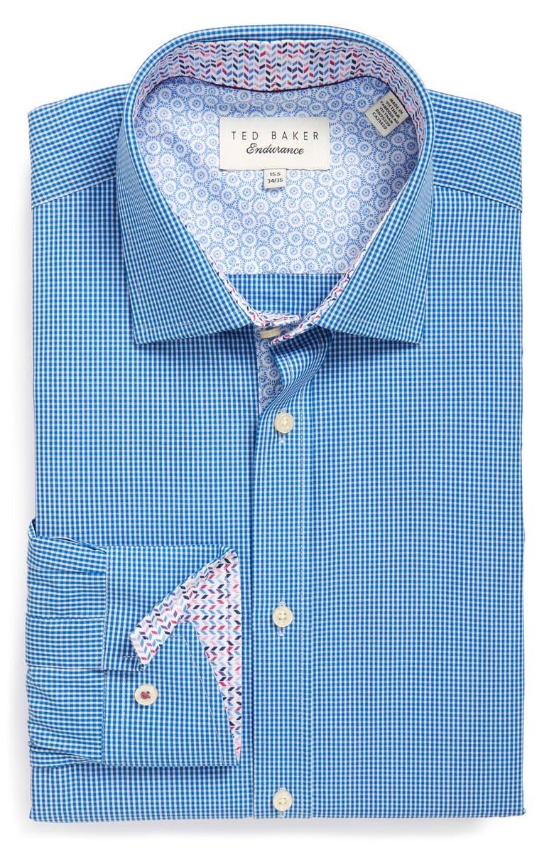 TED BAKER LONDON 'Baasing' Trim Fit Gingham Dress Shirt, Main, color, 421