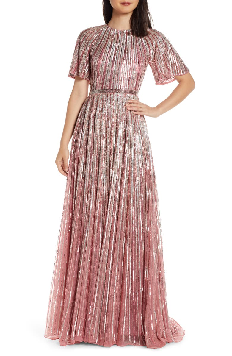 MAC DUGGAL Sequin Stripe Gown, Main, color, ROSE