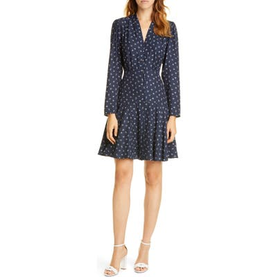 Tailored By Rebecca Taylor Clover Long Sleeve Silk Blend Dress, Blue