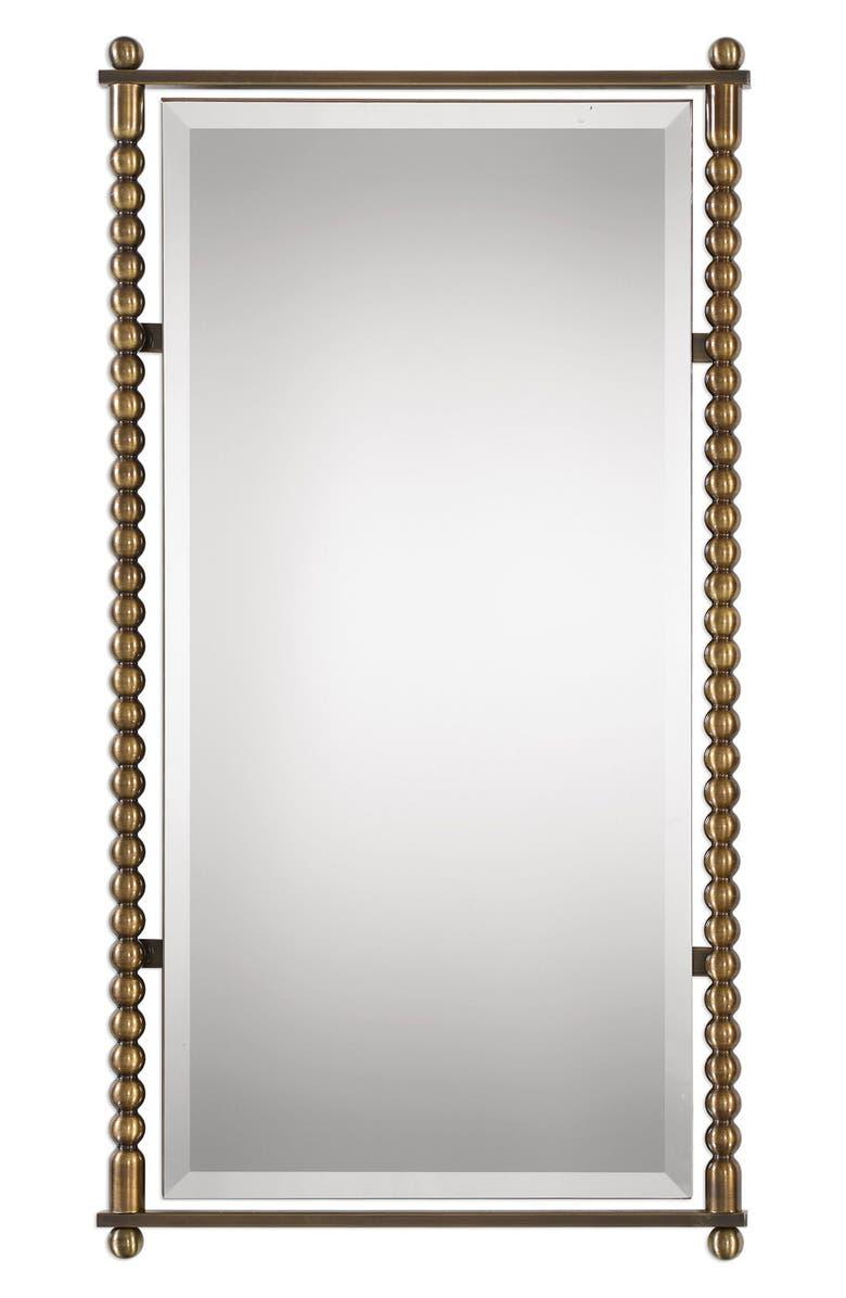 UTTERMOST Rosabel Antique Brass Rectangular Mirror, Main, color, PLATED ANTIQUE BRASS