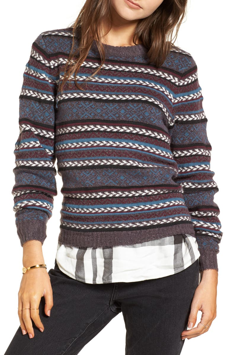TREASURE & BOND Fair Isle Stripe Sweater, Main, color, 930