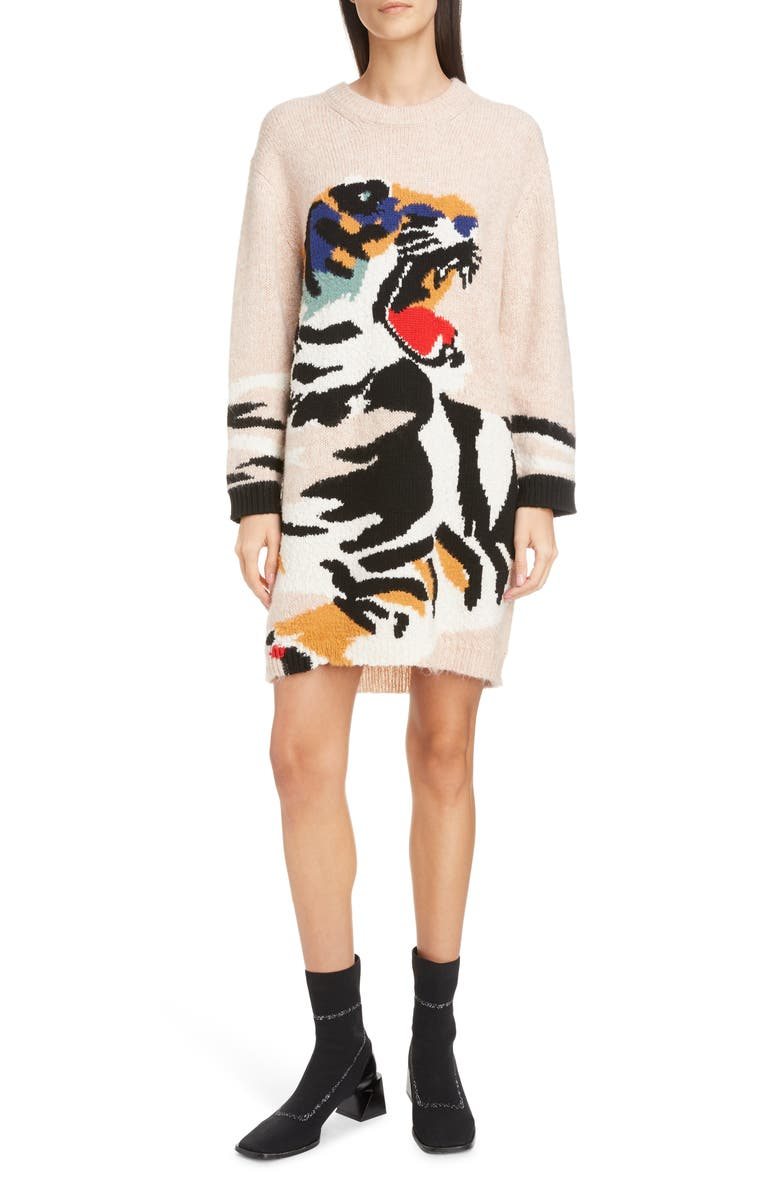 Intarsia Tiger Sweater Dress by Kenzo