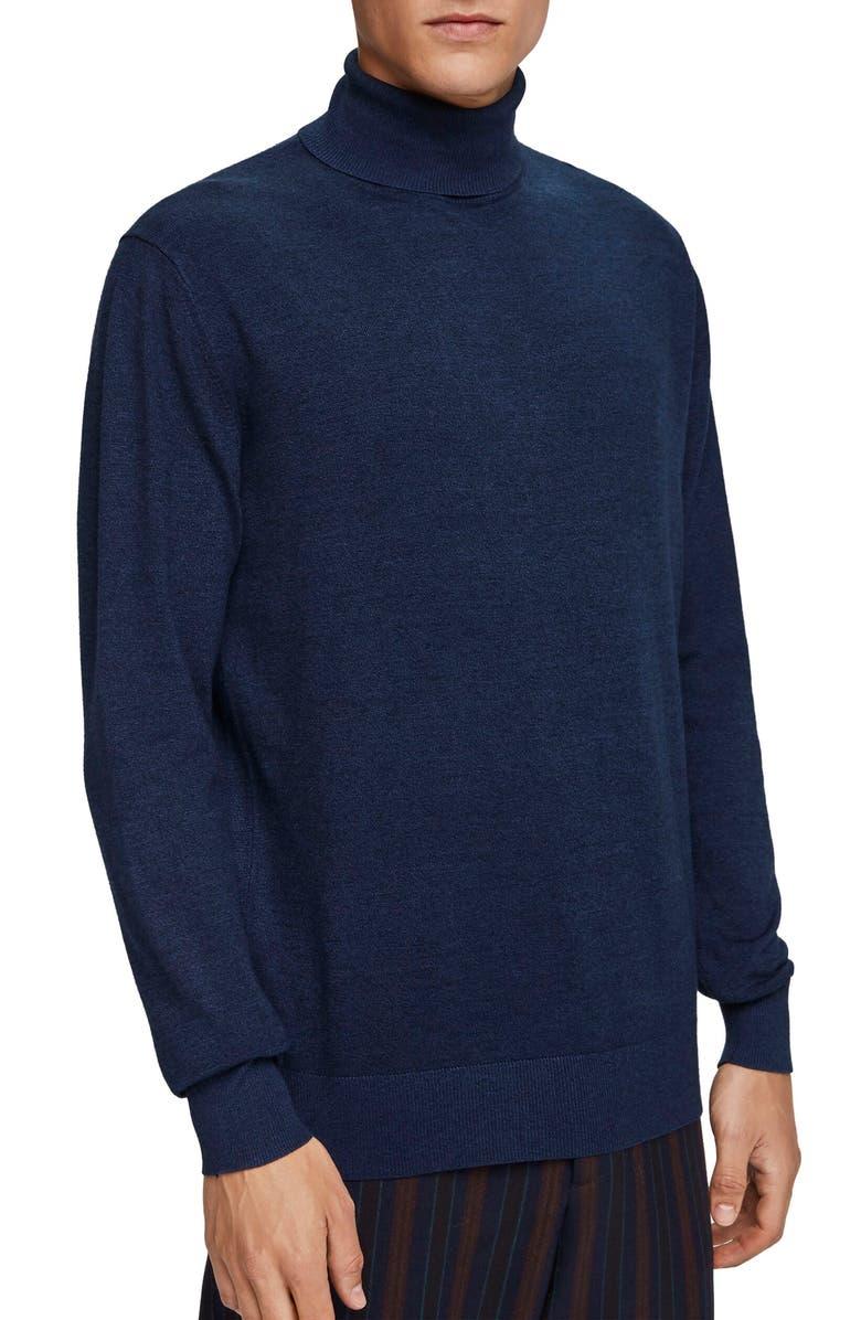 SCOTCH & SODA Mélange Slim Fit Turtleneck Sweater, Main, color, DENIM BLUE MELANGE