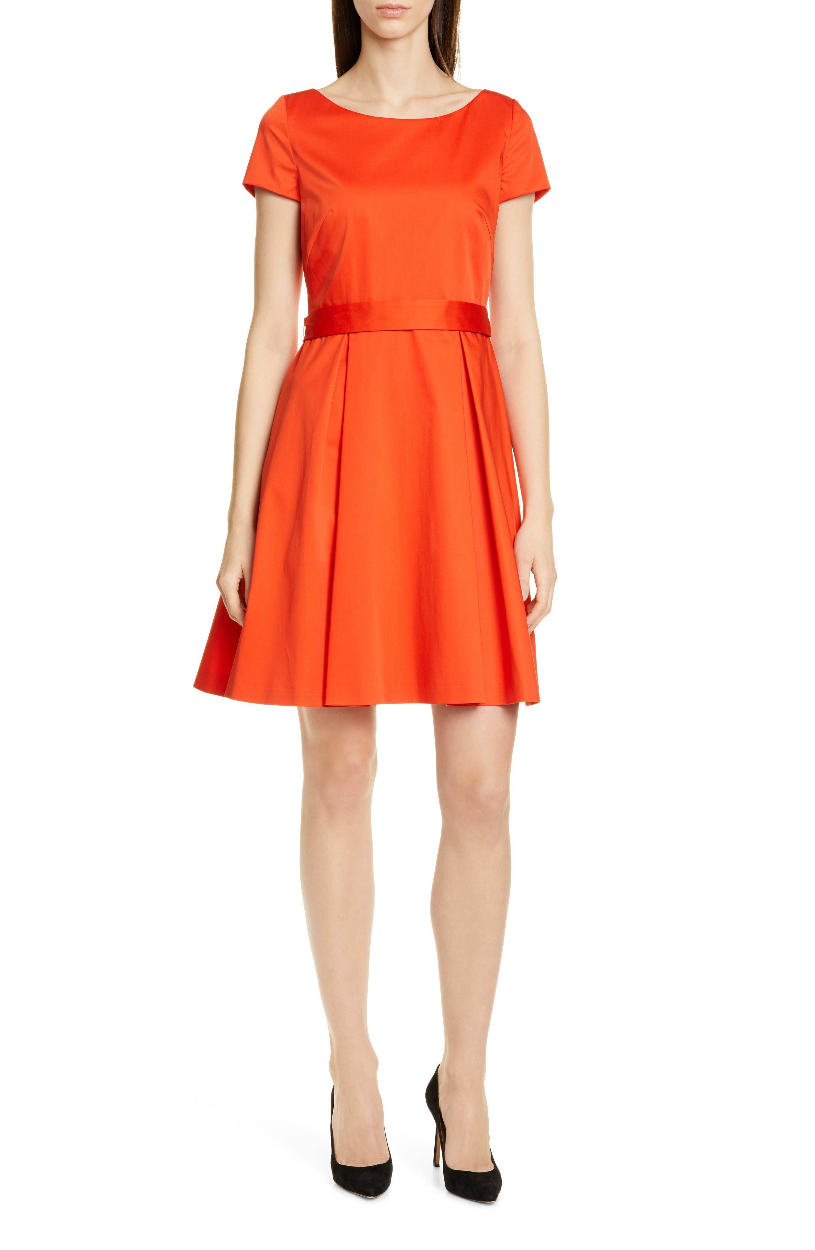 Boss Dalene Fit & Flare Dress, Orange