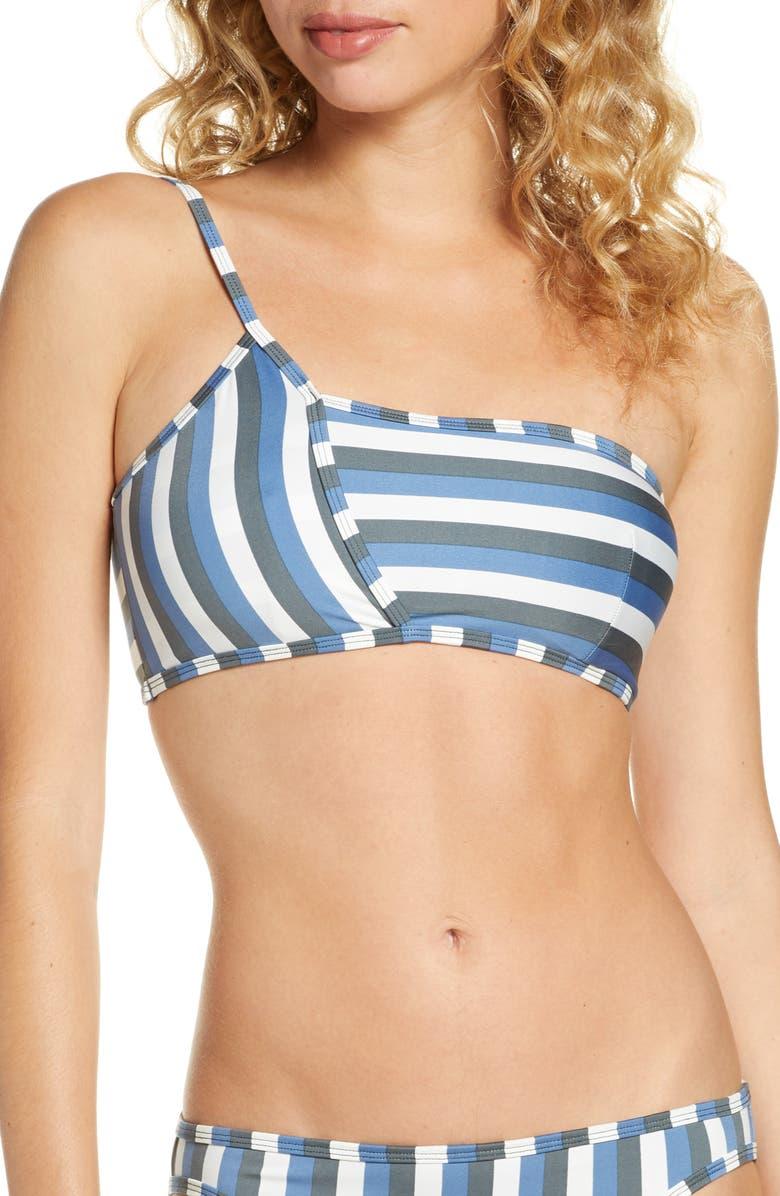 MEI L'ANGE Mei L'ange Jazmin One-Shoulder Bikini Top, Main, color, MULTI-STRIPE