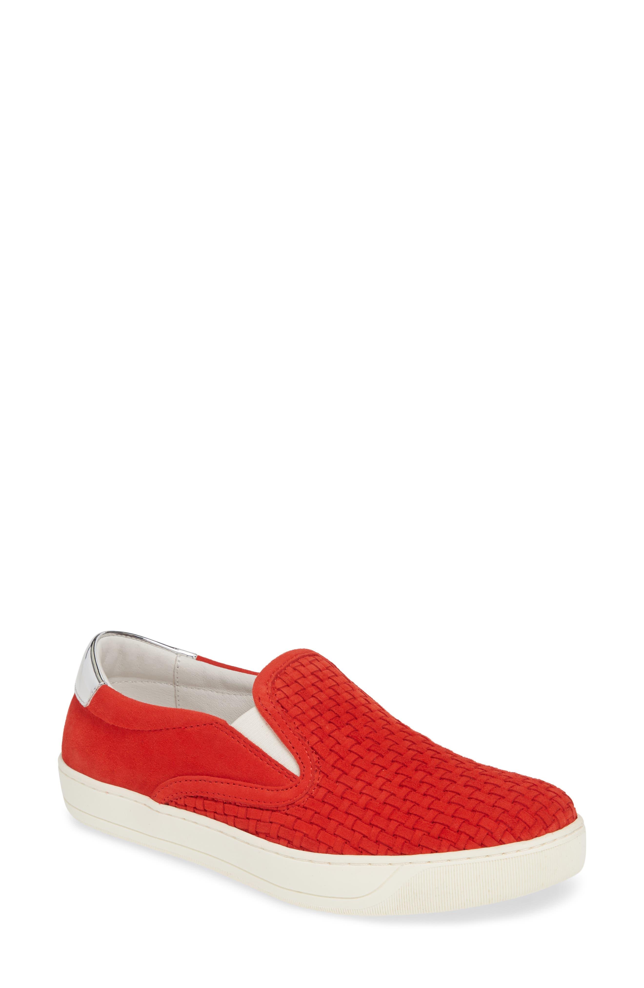 Johnston & Murphy Elaine Woven Slip-On Sneaker, Red