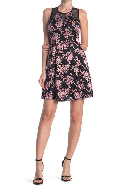 Image of GUESS Floral Print Fit And Flare Dress With Sheer Detailing