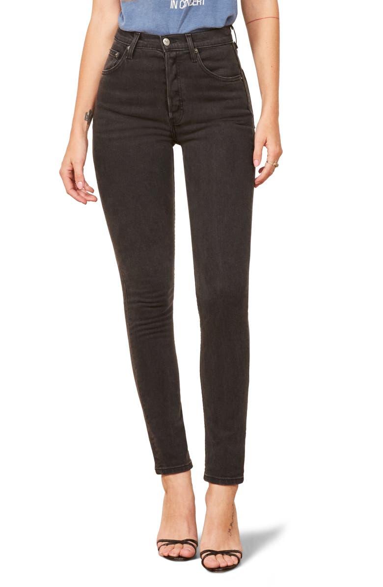 REFORMATION Serena High Waist Skinny Jeans, Main, color, 001