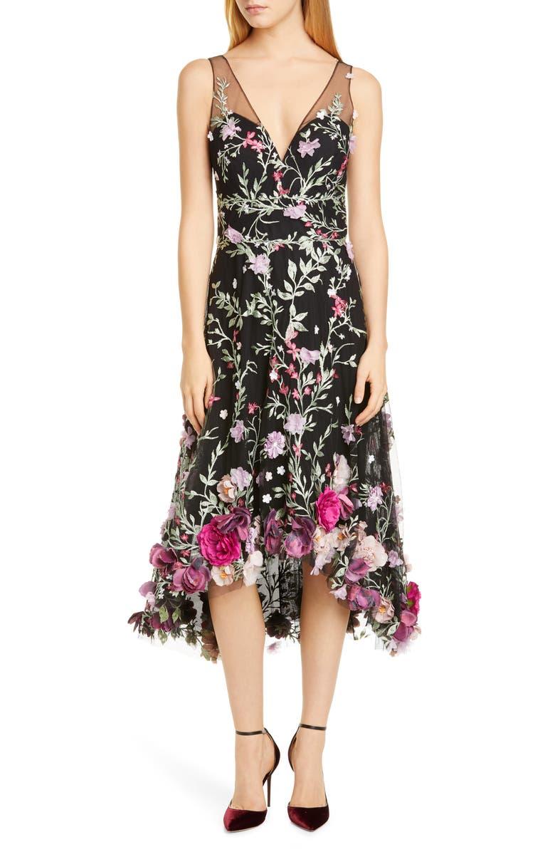 MARCHESA NOTTE Floral Appliqué High/Low Cocktail Dress, Main, color, BLACK