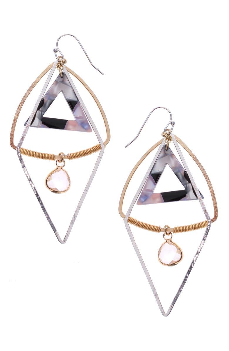 NAKAMOL DESIGN Triangle Drop Earrings, Main, color, GOLD/ BLACK/ RESIN