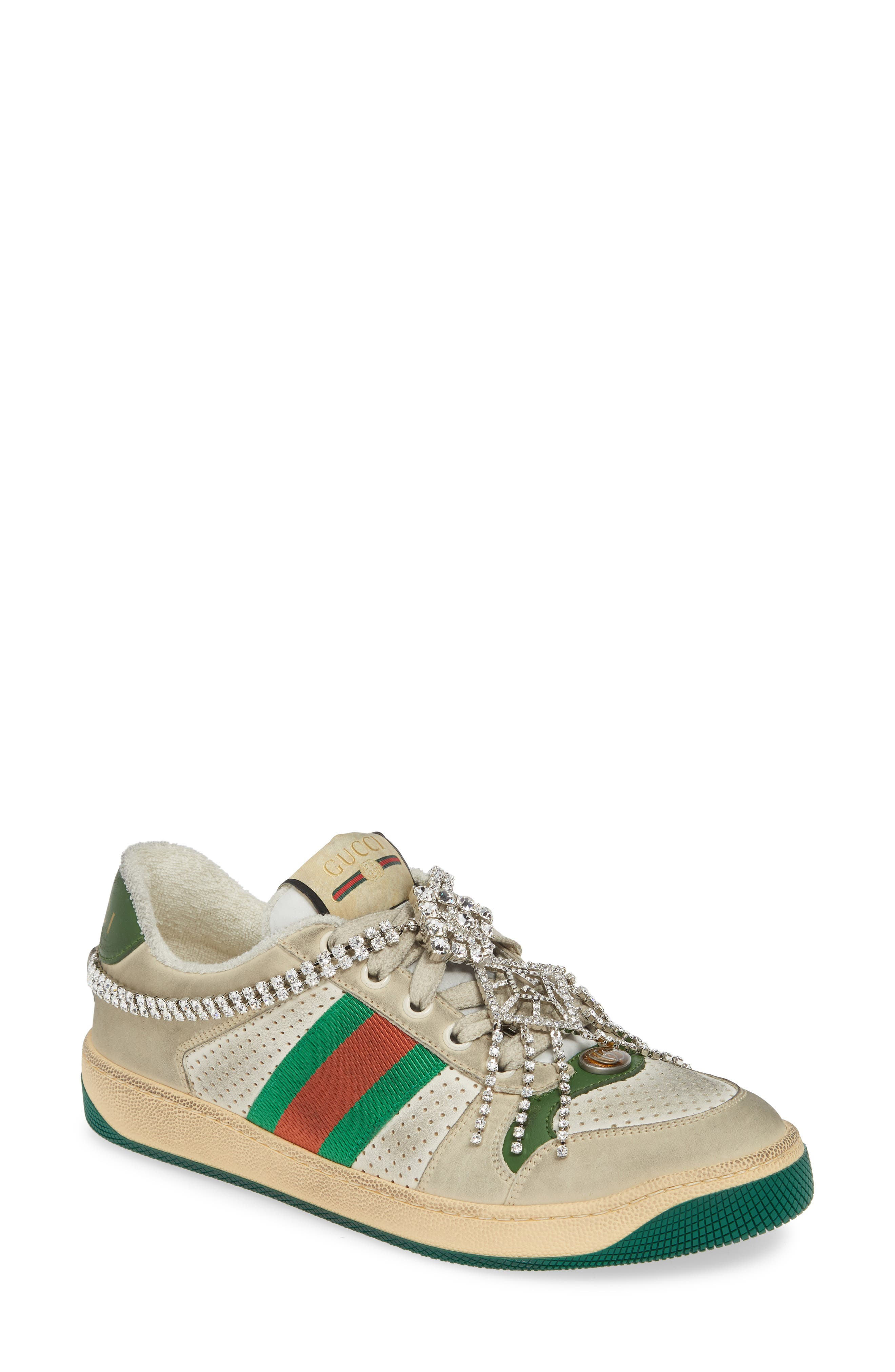 Gucci Screener Jeweled Low Top Sneaker, Beige