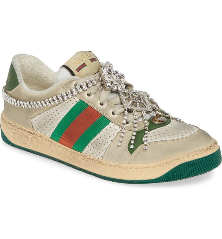 GUCCI Screener Jeweled Low Top Sneaker, Main, color, BEIGE