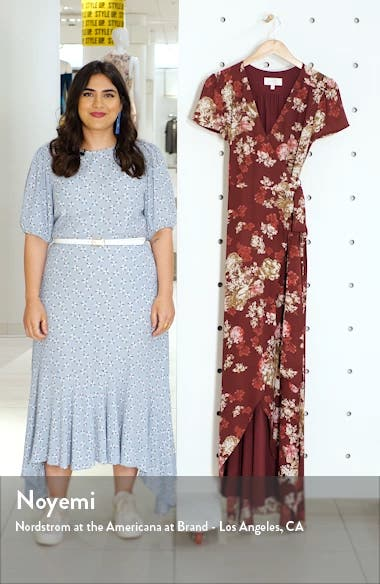 The Zoey Floral Print Short Sleeve Wrap Gown, sales video thumbnail