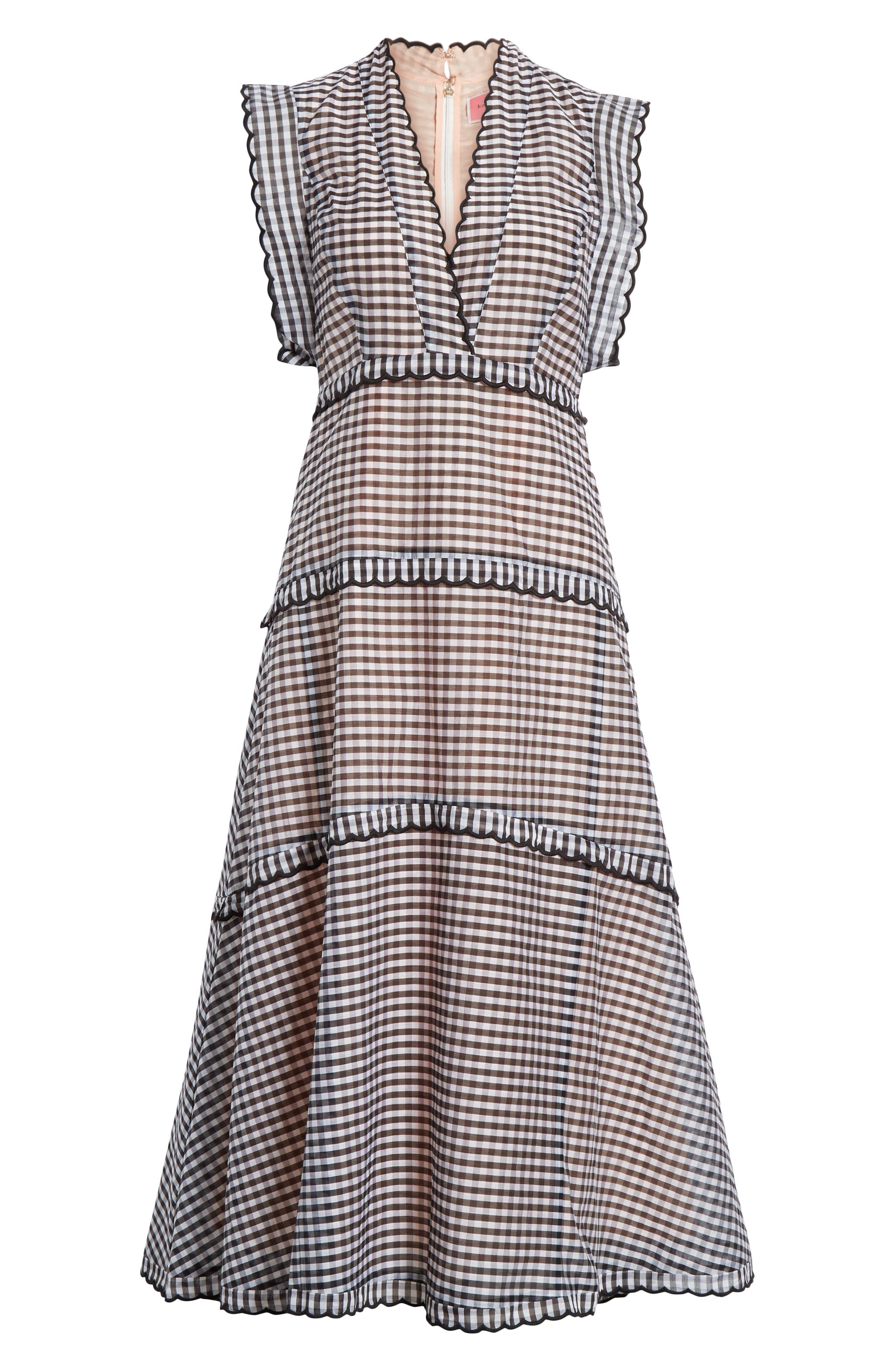 ,                             gingham midi dress,                             Alternate thumbnail 7, color,                             BLACK/ CREAM
