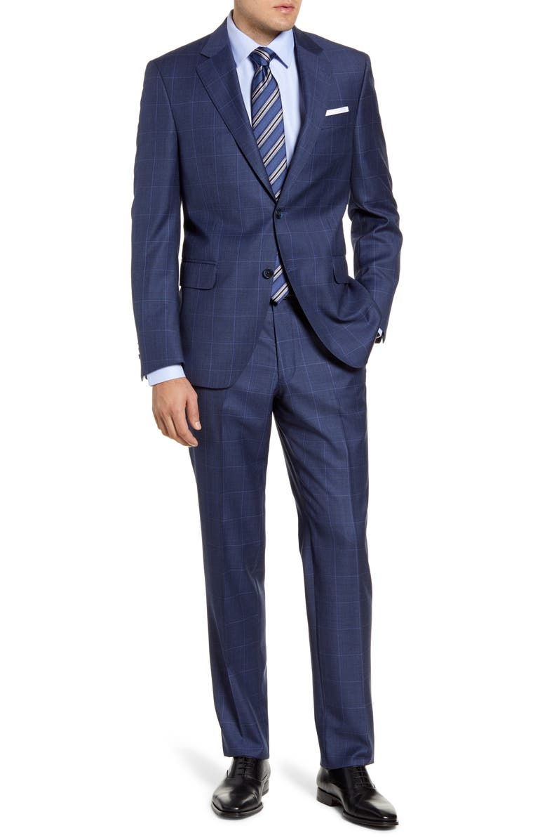PETER MILLAR Flynn Classic Fit Windowpane Wool Suit, Main, color, BLUE