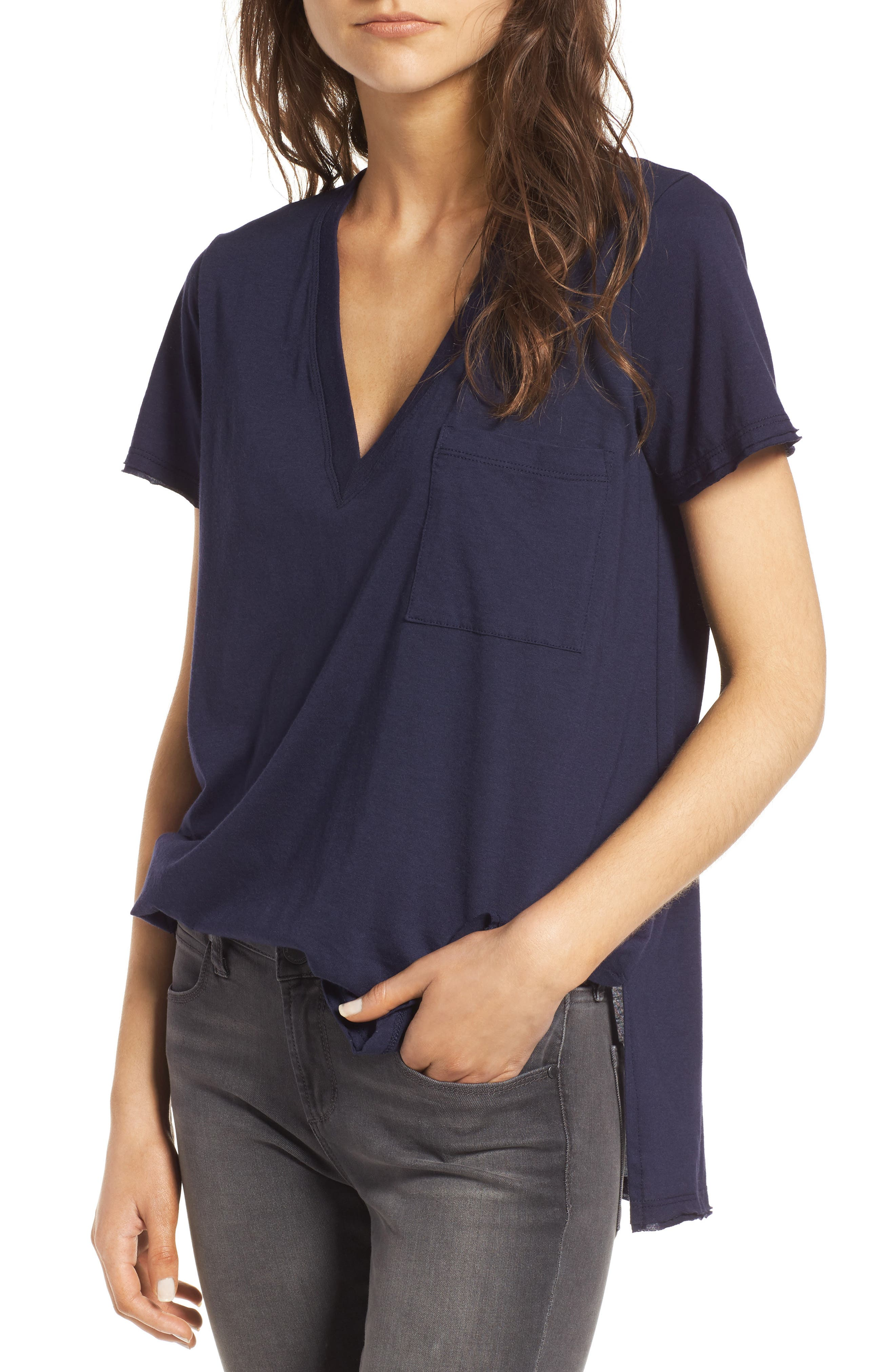 ,                             Raw Edge Side Slit Tee,                             Main thumbnail 36, color,                             406