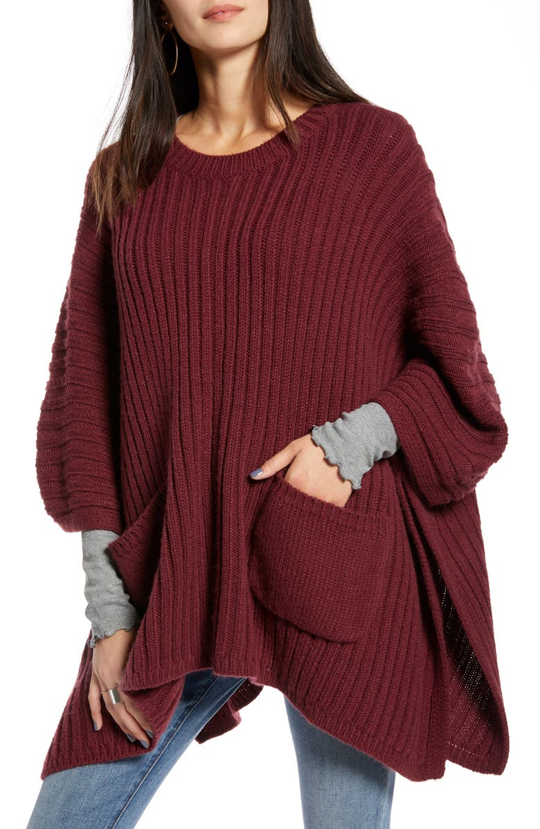 TREASURE & BOND Rib Knit Poncho, Main, color, BURGUNDY COMBO