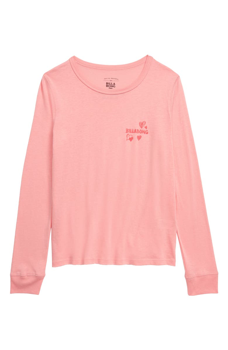 BILLABONG Hearts All Over Long Sleeve Tee, Main, color, PKZ PINK HAZE