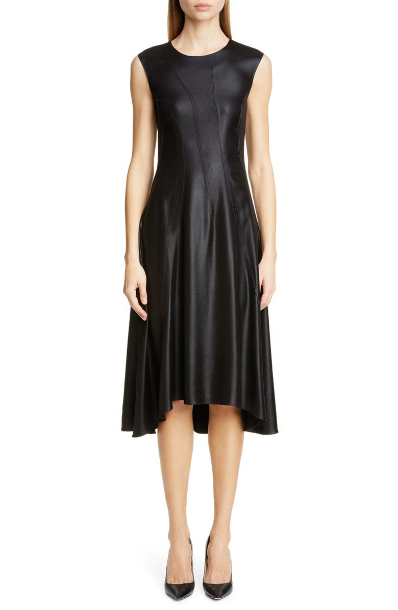 SIES MARJAN Hammered Silk Satin Midi Dress, Main, color, BLACK