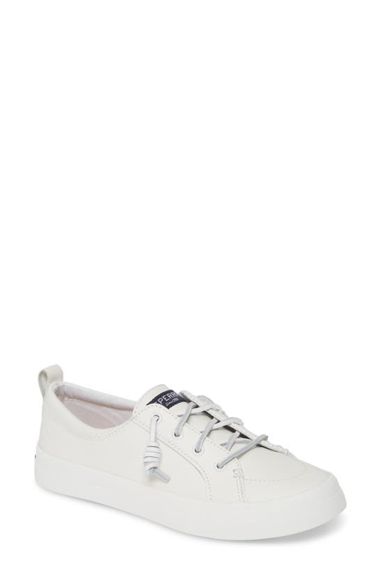 Sperry Women's Crest Vibe Leather Sneakers, Created For Macy's Women's Shoes In White Leather