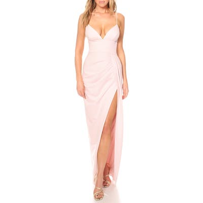Katie May Reconcile Side Slit Column Gown, Pink