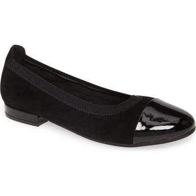 David Tate Nicole Cap Toe Flat, Black