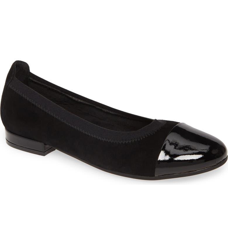 DAVID TATE Nicole Cap Toe Flat, Main, color, BLACK SUEDE
