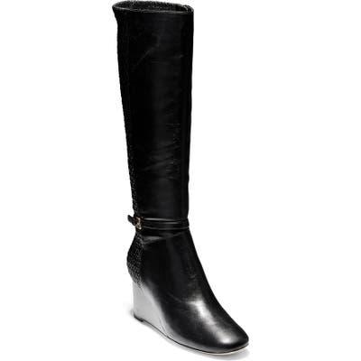 Cole Haan Lauralyn Knee High Wedge Boot, Black
