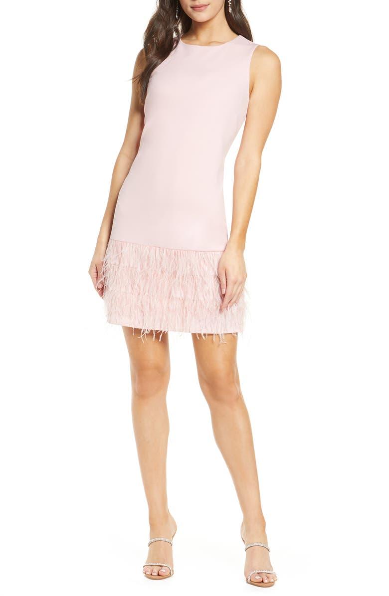 SAM EDELMAN Feather Hem Sheath Dress, Main, color, BLUSH
