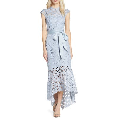 Chi Chi London Willa High/low Laser Cut Lace Gown, Blue