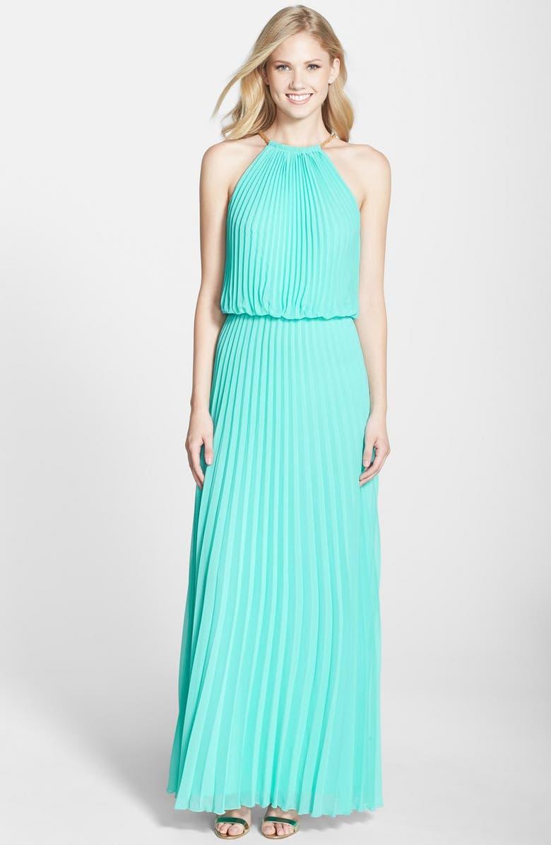 XSCAPE Pleated Chiffon Blouson Dress, Main, color, 312