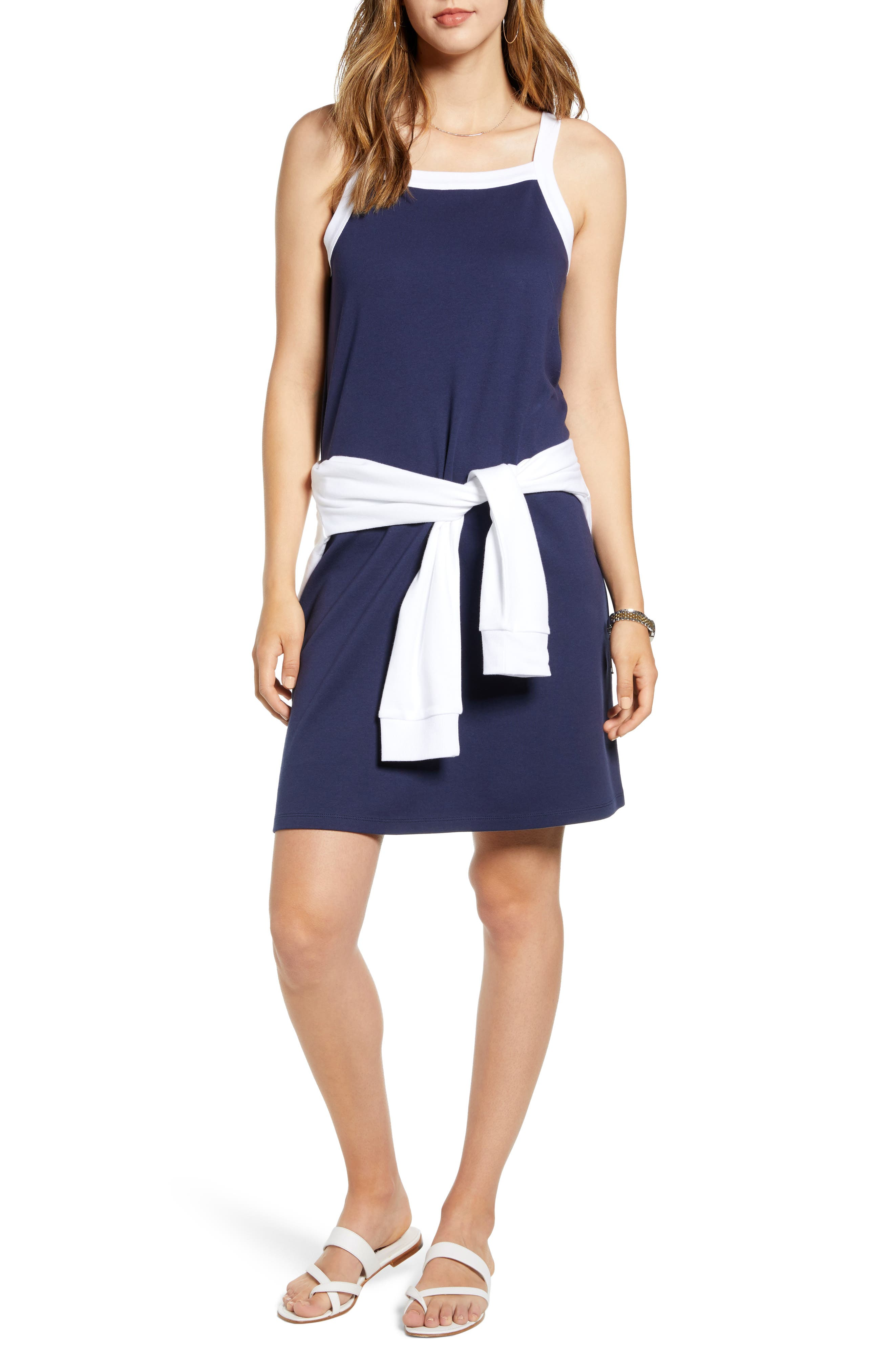 Petite 1901 Sleeveless Knit Tank Dress, Blue