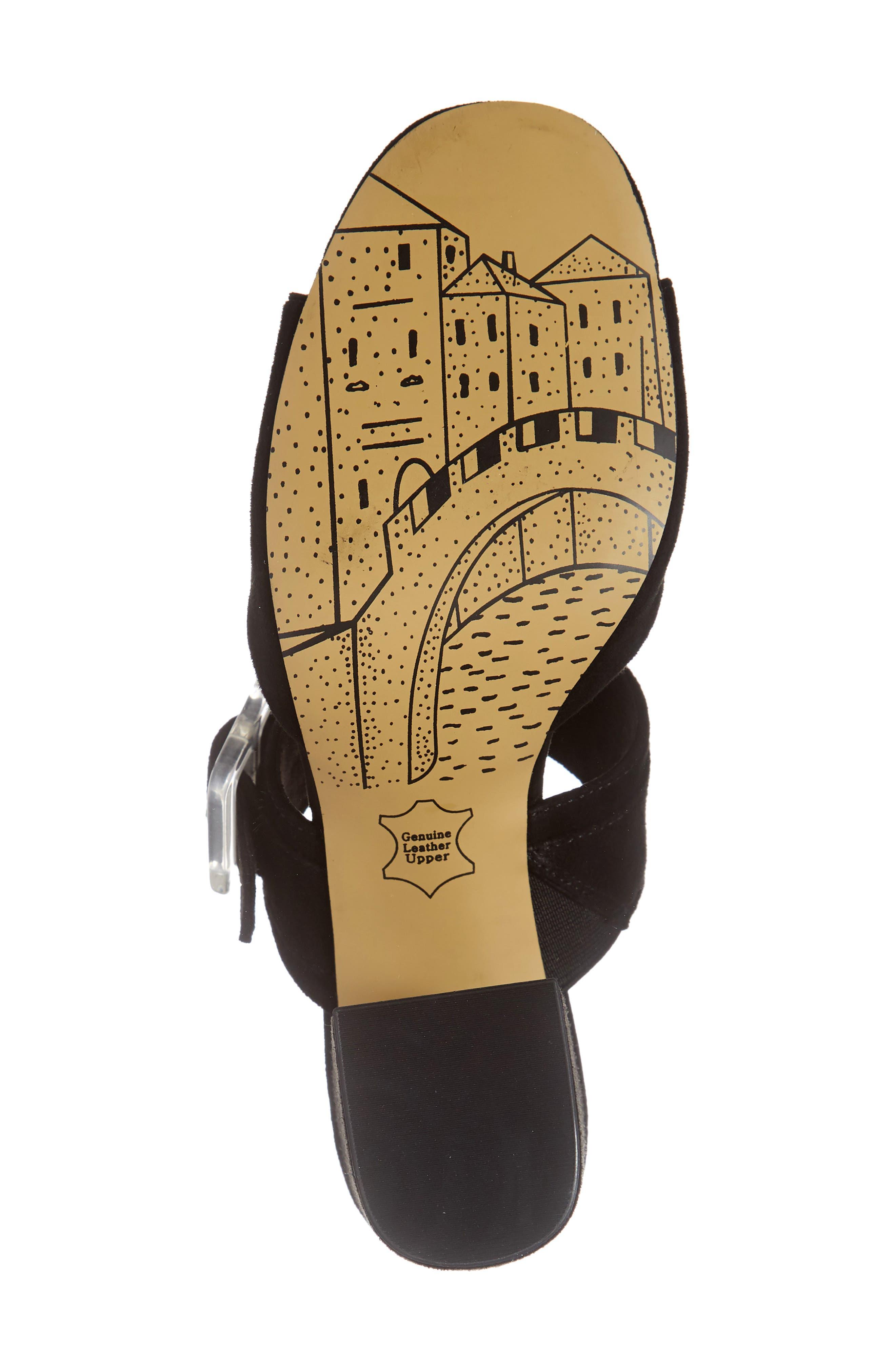 ,                             Tory Buckle Slide Sandal,                             Alternate thumbnail 6, color,                             BLACK SUEDE