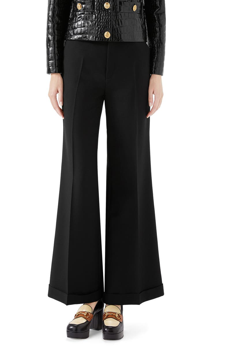 GUCCI Wool & Mohair Cuffed Ankle Pants, Main, color, BLACK