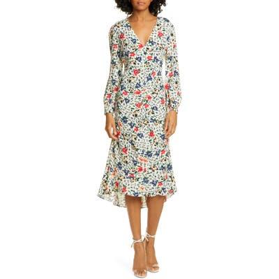 Ba & sh Paloma Floral Long Sleeve Midi Dress, Ivory