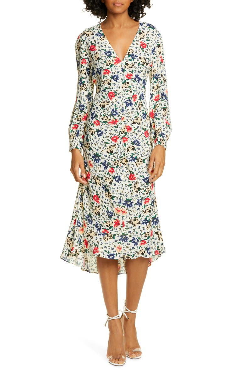BA&SH Paloma Floral Long Sleeve Midi Dress, Main, color, ECRU