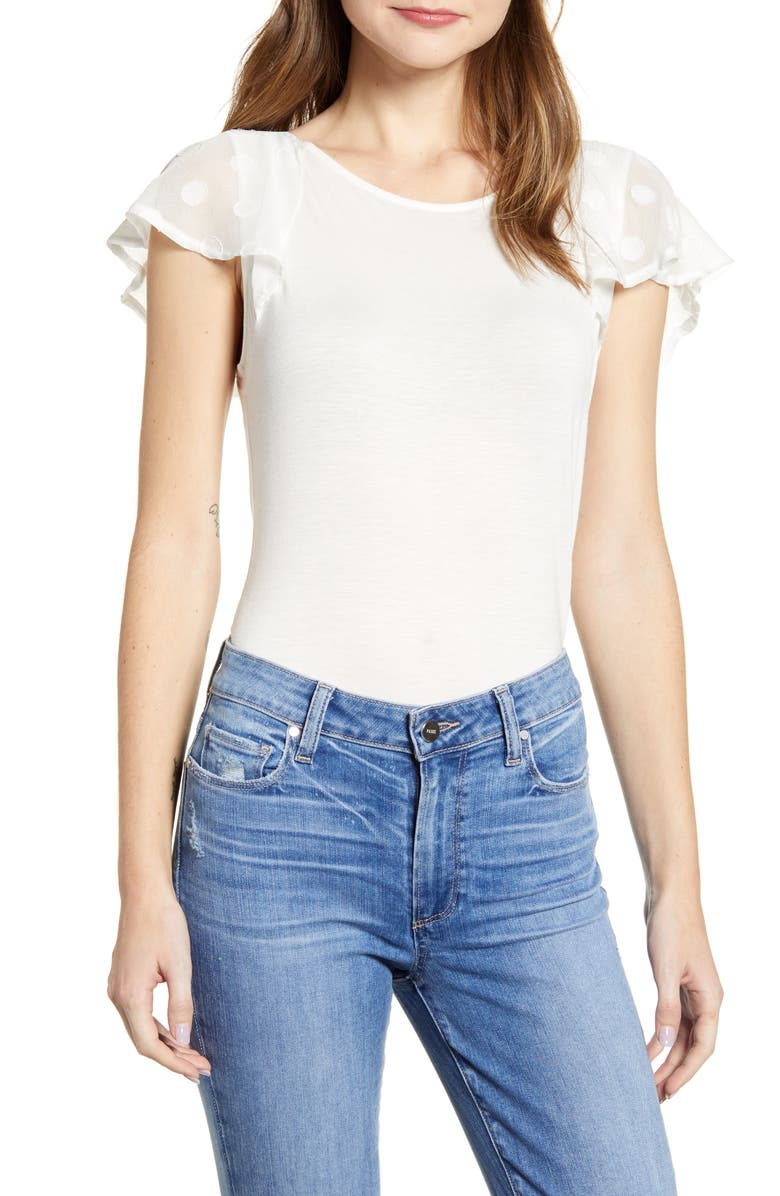 LOVEAPPELLA Dot Chiffon Flutter Sleeve Top, Main, color, IVORY