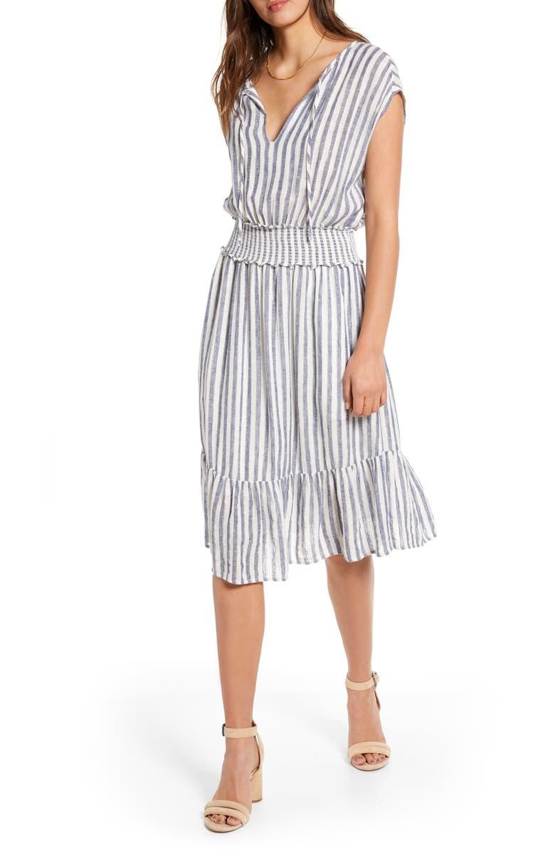 RAILS Ashlyn Stripe Linen Blend Dress, Main, color, RIO STRIPE