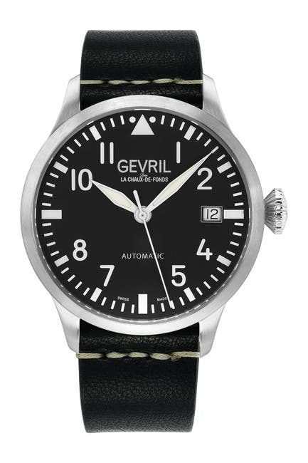 Image of Gevril Men's Vaughn Swiss Leather Strap Watch, 44mm