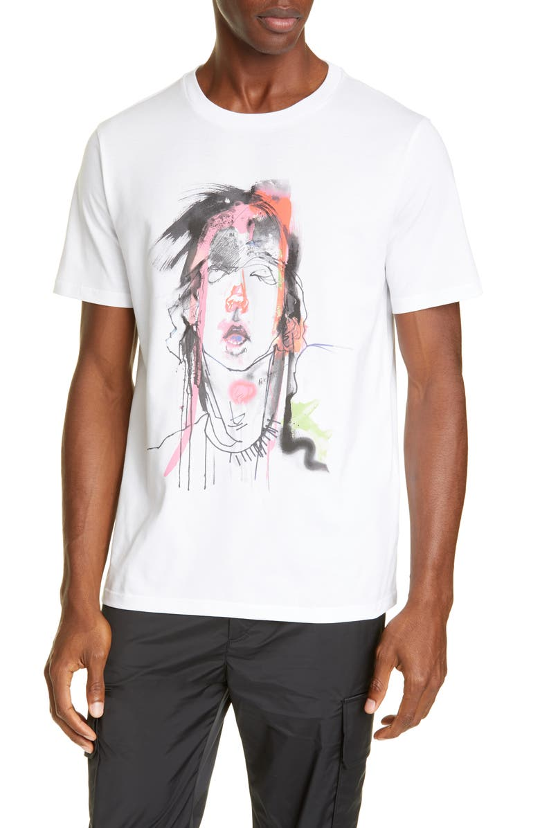 NEIL BARRETT x Julie Verhoeven Abstract Face Graphic T-Shirt, Main, color, WHITE/PINK/RED