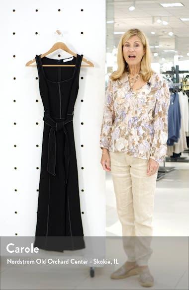 Topstitch Tie Front Sleeveless Jumpsuit, sales video thumbnail
