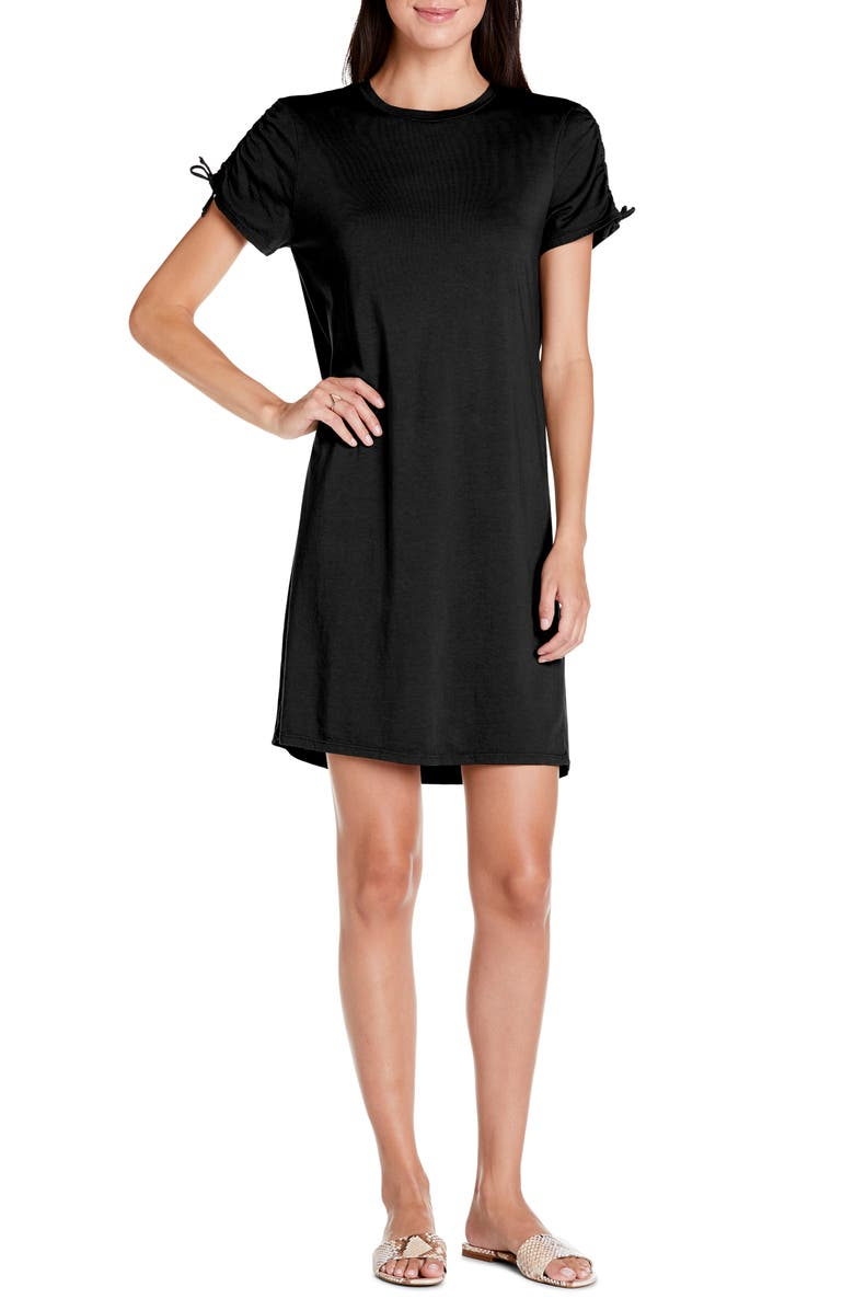MICHAEL STARS Zoie Ruched Sleeve T-Shirt Dress, Main, color, 001