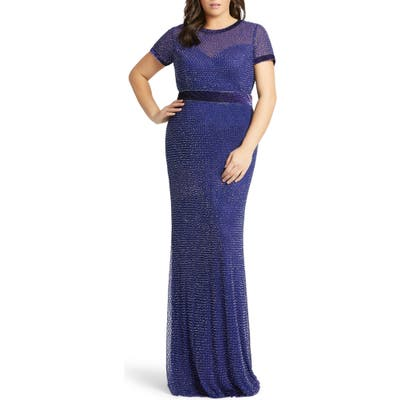 Plus Size MAC Duggal Diamond Grid Beaded Gown, Blue