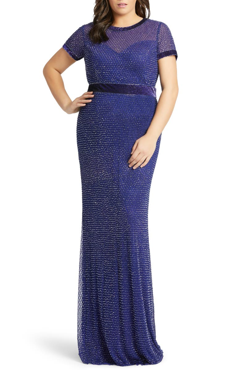 MAC DUGGAL Diamond Grid Beaded Gown, Main, color, COBALT