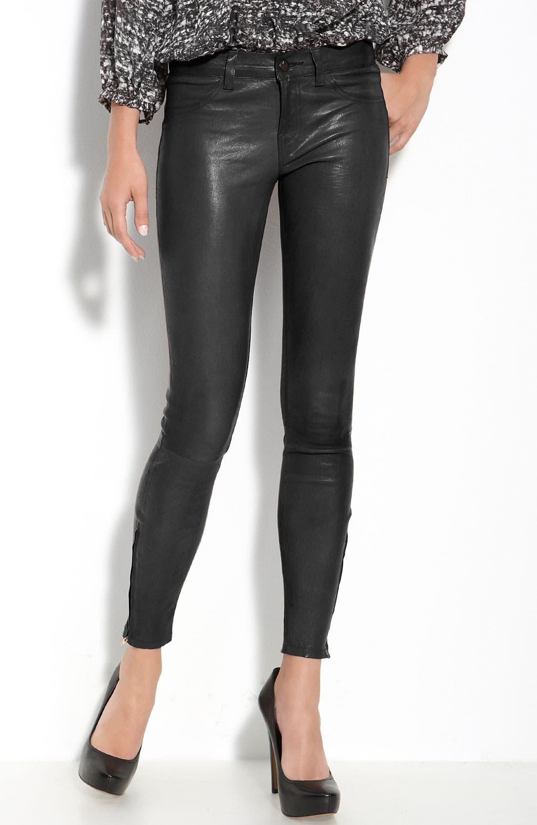 ,                             '8001' Lambskin Leather Pants,                             Main thumbnail 13, color,                             001