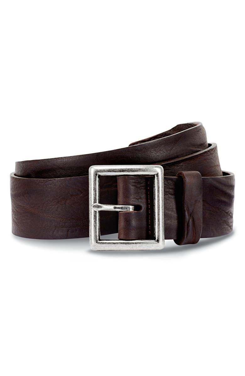 ALLEN EDMONDS Radcliff Avenue Leather Belt, Main, color, DARK BROWN