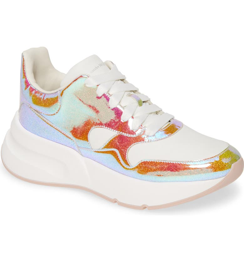 ALEXANDER MCQUEEN Platform Sneaker, Main, color, MULTI/ OPTIC WHITE GLITTER
