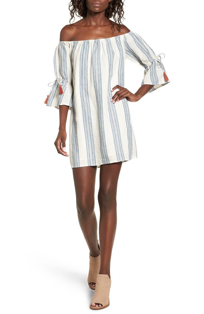 TULAROSA Sara Stripe Off the Shoulder Dress, Main, color, 400