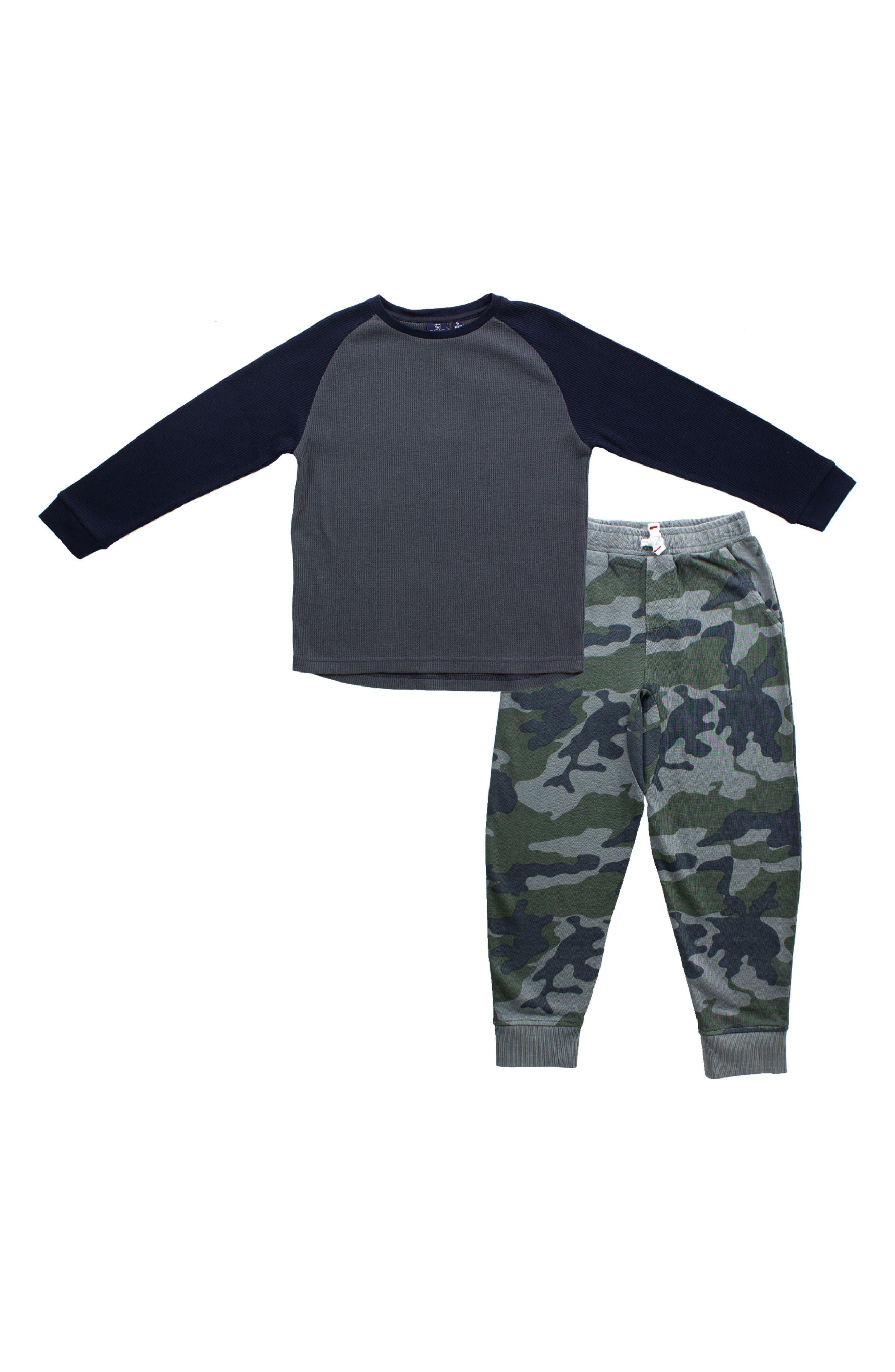 Kids Little Boys Short Sleeve Moms MCM Tshirt Camo Pants Outfits Clothes Set